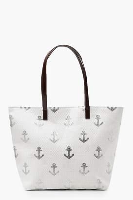 boohoo Paper Straw Metallic Anchor Beach Bag