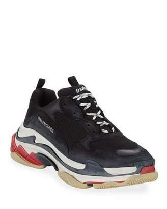 Balenciaga Men's Triple S Mesh & Leather Sneakers, Black
