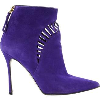 Sergio Rossi Purple Suede Ankle boots
