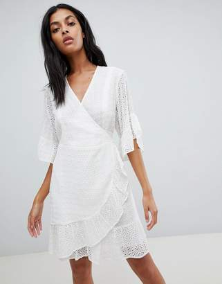AllSaints broderie wrap mini dress