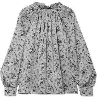 Co Gathered Floral-print Silk-charmeuse Blouse