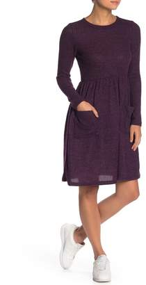 GOOD LUCK GEM Long Sleeve Fit & Flare Knit Dress