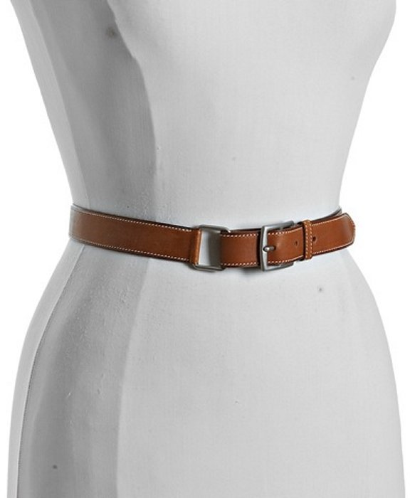 Hermes cognac leather 'Ruban' skinny belt