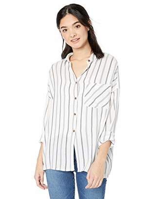 RVCA Junior's Holt Stripe Long Sleeve Woven Shirt, M