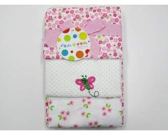 Set of 3 Print Flannel Blanket in Pink