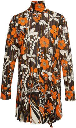 Prada Floral-Print Organza Mini Dress