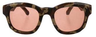 Perrin Leather-Trimmed Tinted Sunglasses Brown Perrin Leather-Trimmed Tinted Sunglasses