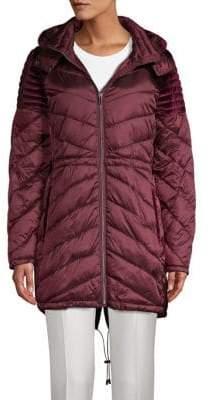 Badgley Mischka Velvet-Trim Quilted Puffer Jacket