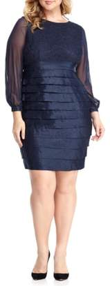 London Times Pleat Lace & Taffeta Sheath Dress