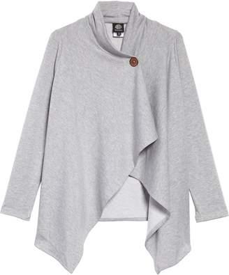 Bobeau One-Button Fleece Wrap Cardigan