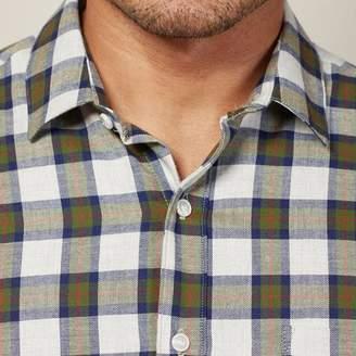 Blade + Blue Heather Grey, Olive & Navy Plaid Brushed Cotton Shirt - Dougie