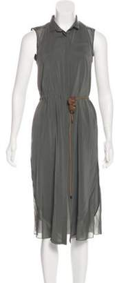 Brunello Cucinelli Belted Silk Dress cognac Belted Silk Dress