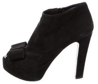 Louis Vuitton Suede Peep-Toe Boots