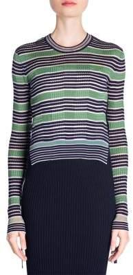 Fendi Rib Knit Striped Crop Pullover