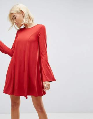 Asos DESIGN Mini Swing Dress with Seam Detail and Trumpet Sleeve