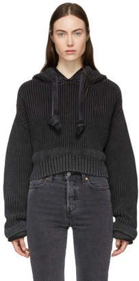 Alexander Wang Black Chunky Trim Acid Washed Hoodie