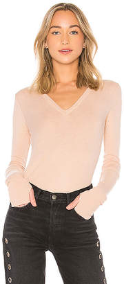 Enza Costa Cashmere Cuffed V Neck Top