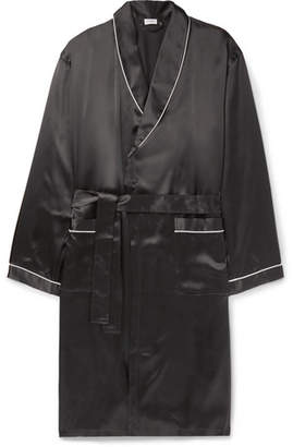 Zimmerli Piped Silk-Satin Robe - Black