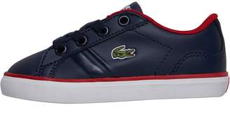 5fc0dfb0dc8c43 Lacoste Infant Boys Lerond Trainers Navy Red