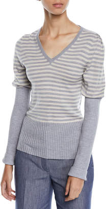 Derek Lam V-Neck Puff-Sleeve Striped Wool Sweater w\/ Ribbed Combo