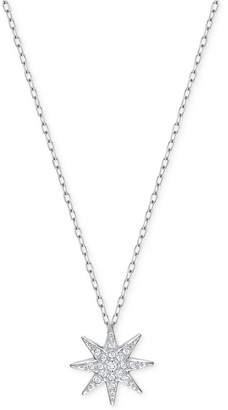 Swarovski Silver-Tone Pave Star Pendant Necklace