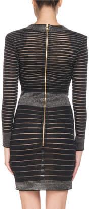 Balmain Long-Sleeve Deep V-Neck Striped Knit Cocktail Dress