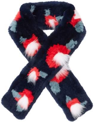 Yves Salomon Floral Rabbit Fur Scarf