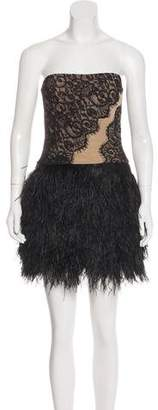 Haute Hippie Ostrich Feather Lace Dress w/ Tags