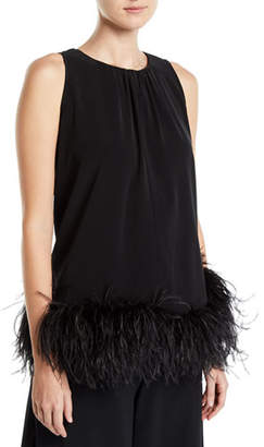 Co Feathered Sleeveless Halter Swing Blouse