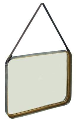 DecMode Decmode Industrial 30 X 20 Inch Tin And Wood Square Framed Hanging Wall Mirror, Gold
