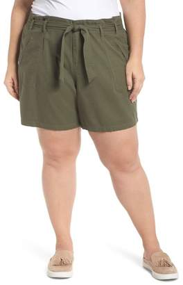 Caslon Belted Twill Shorts (Plus Size)