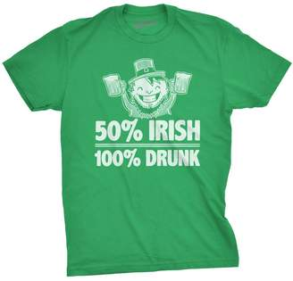 Crazy Dog T-shirts Crazy Dog Tshirts 50% Irish 100% Drunk T Shirt Funny Ireland Tee for St Patricks Day