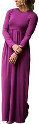 Dearlovers Women Crew Neck Long Sleeve Causal Solid Maxi Pocket Dress