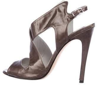 Camilla Skovgaard Patent Leather Crossover Sandals Grey Patent Leather Crossover Sandals