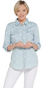 Denim & Co. Chambray Star Print Button FrontShirt