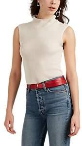 Helmut Lang Women's Semi-Sheer Rib-Knit Mock-Turtleneck Top - Neutral