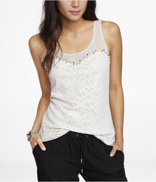 Express Lace And Rhinestone Tank