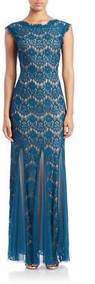 Betsy & Adam Plus Lace Overlay Mermaid Gown $229 thestylecure.com