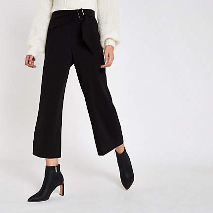 Womens Black buckle belted culottes