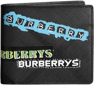 Burberry Tag Print London Check International Bifold Wallet