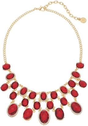 Dana Buchman Gold Tone Red Simulated Crystal Bib Necklace