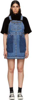 McQ Indigo Denim Mini Dungaree Dress