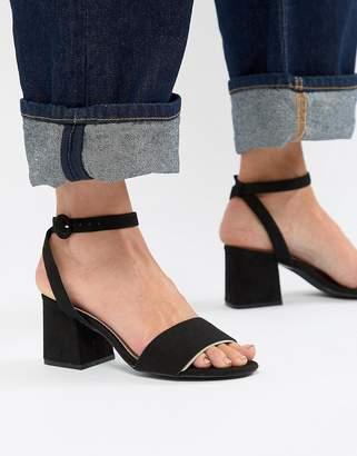 Pull&Bear block heel two part mid sandal in black