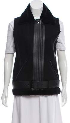 Rebecca Minkoff Leather-Trimmed Shearling Vest