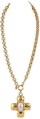 One Kings Lane Vintage Chanel Oversize Cross Necklace - Vintage Lux