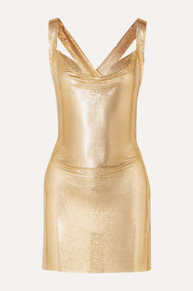 Fannie Schiavoni Hailey Open-back Draped Chainmail Mini Dress - Gold