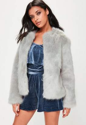 Missguided Collarless Faux Fur Coat