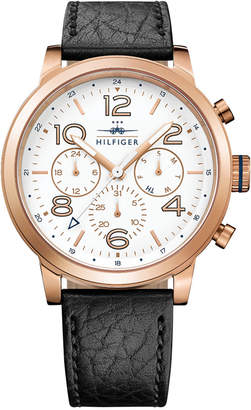 Tommy Hilfiger Men's Casual Sport Black Leather Strap Watch 46mm 1791236 $165 thestylecure.com