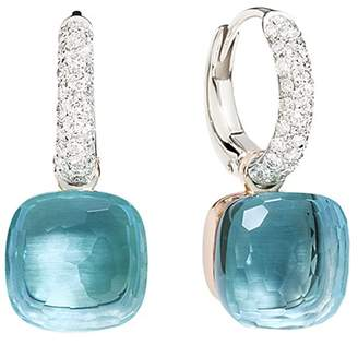 Pomellato Nudo Earrings with Blue Topaz and Diamonds in 18K White and Rose Gold