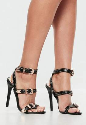 Missguided Black Western Studded Strappy Barely There Sandals